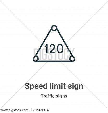 Speed limit sign icon isolated on white background from traffic signs collection. Speed limit sign i