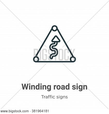 Winding road sign icon isolated on white background from traffic signs collection. Winding road sign