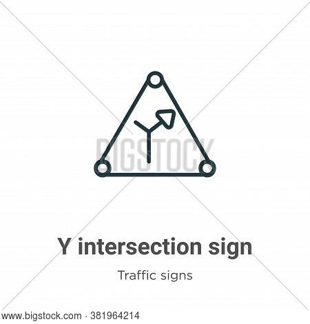 Y intersection sign icon isolated on white background from traffic signs collection. Y intersection