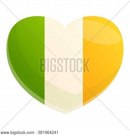 Ireland Heart Flag Icon. Cartoon Of Ireland Heart Flag Vector Icon For Web Design Isolated On White