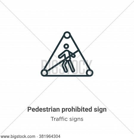 Pedestrian prohibited sign icon isolated on white background from traffic sign collection. Pedestria