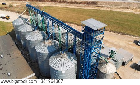 Aerial View, A Large Siloses Silo System Used For Agriculture.