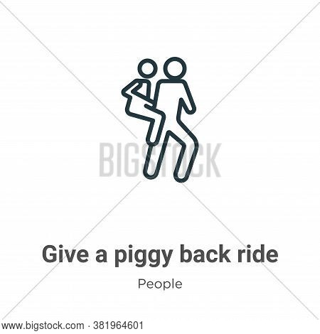 Give a piggy back ride icon isolated on white background from people collection. Give a piggy back r