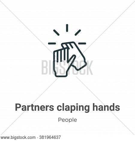 Partners claping hands icon isolated on white background from people collection. Partners claping ha