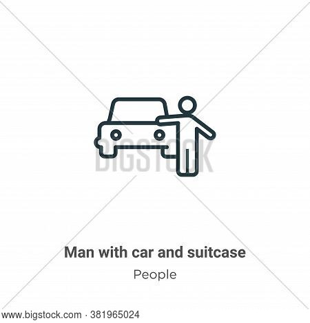 Man with car and suitcase icon isolated on white background from people collection. Man with car and