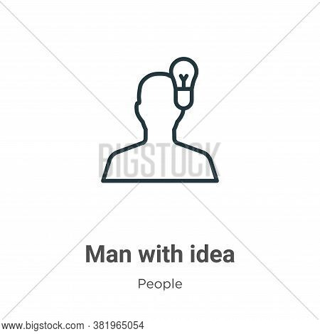 Man with idea icon isolated on white background from people collection. Man with idea icon trendy an