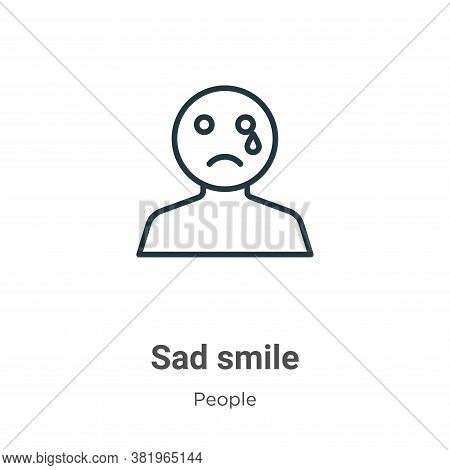 Sad smile icon isolated on white background from people collection. Sad smile icon trendy and modern