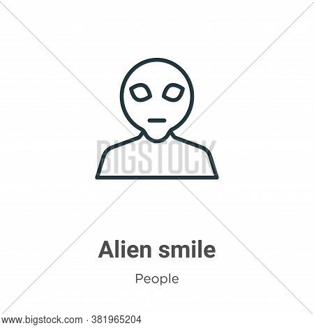 Alien smile icon isolated on white background from people collection. Alien smile icon trendy and mo