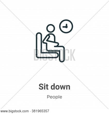 Sit down icon isolated on white background from people collection. Sit down icon trendy and modern S