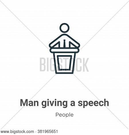 Man giving a speech icon isolated on white background from people collection. Man giving a speech ic