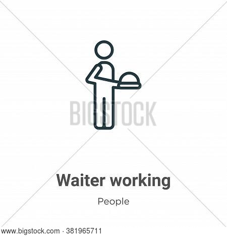 Waiter working icon isolated on white background from people collection. Waiter working icon trendy