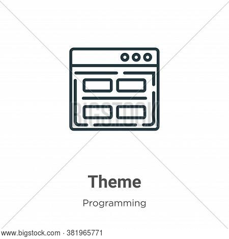 Theme icon isolated on white background from programming collection. Theme icon trendy and modern Th