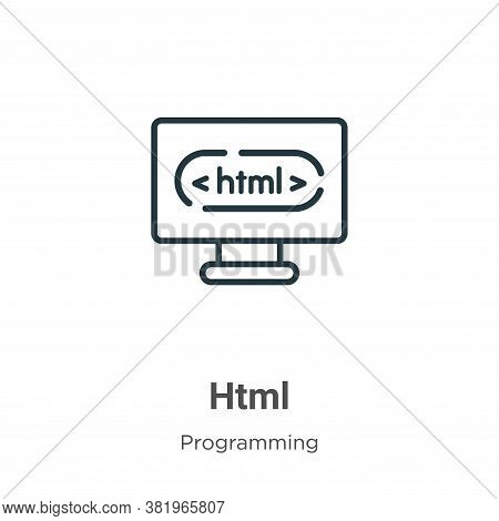 Html icon isolated on white background from programming collection. Html icon trendy and modern Html