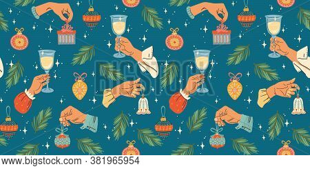 Christmas And Happy New Year Seamless Pattern. Trendy Retro Style. Vector Design