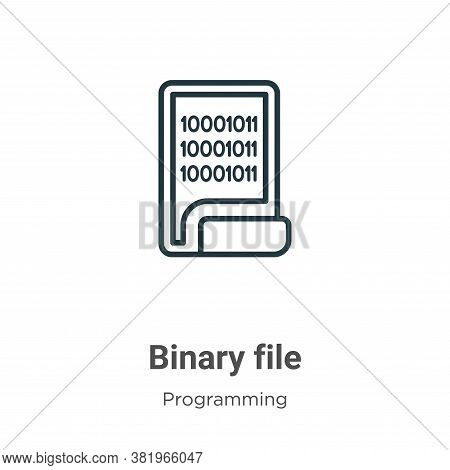 Binary file icon isolated on white background from programming collection. Binary file icon trendy a