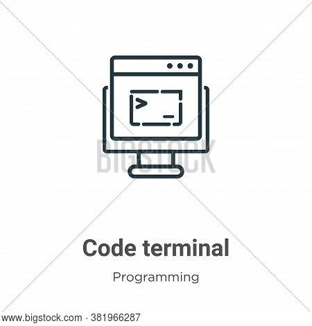 Code terminal icon isolated on white background from programming collection. Code terminal icon tren