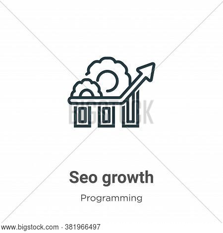 Seo growth icon isolated on white background from programming collection. Seo growth icon trendy and