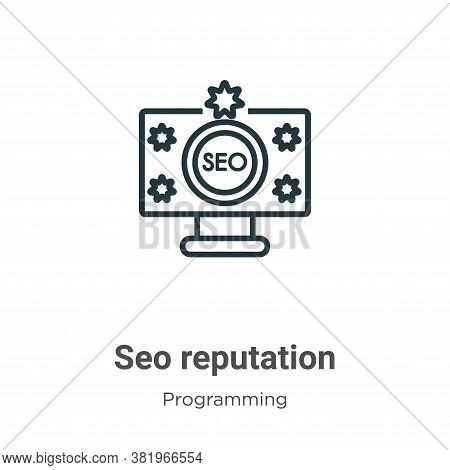 Seo reputation icon isolated on white background from programming collection. Seo reputation icon tr