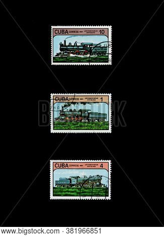 Ussr - Circa 1979: Post Stamps Of Different Types Of Steam Locomotives Of 19th Century Printed In 19