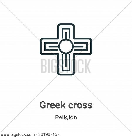 Greek cross icon isolated on white background from religion collection. Greek cross icon trendy and