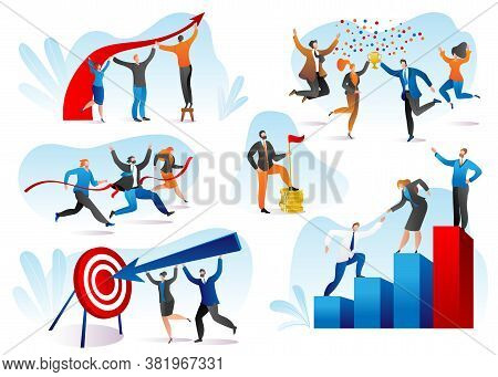 Business Success And Winning Concept, Progress, Achievement, Growth Set Of Vector Illustrations. Hap