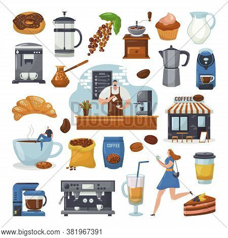 Coffee Shop Icons And Coffee Maker Machine, Coffegrinder, Barista, Mug Elements For Cafe, Set Of Iso