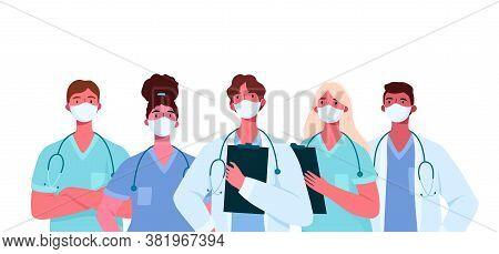 Coronavirus 2019-ncov. Set Of Doctors Characters In White Medical Face Mask. Stop Coronavirus Concep