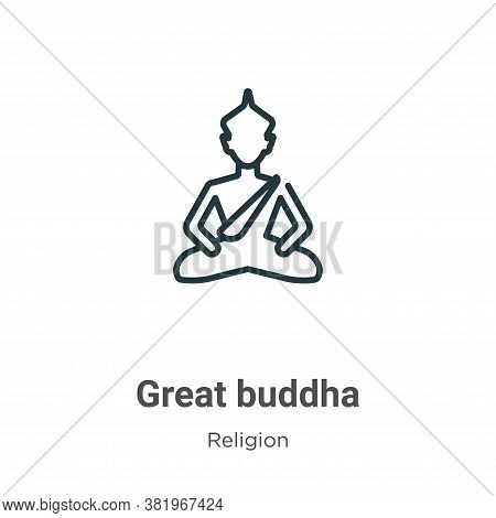 Great buddha icon isolated on white background from religion collection. Great buddha icon trendy an