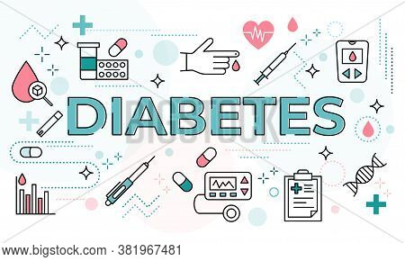 Diabetes Mellitus Word Concept Surrounded With Line Icons. Typography Lettering Design With Outline