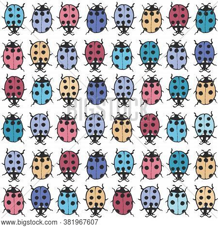 Vector Colourful Ladybugs On White Seamless Pattern Print Background.