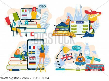 Foreign Languages Learning, Education, Communication Online Set Of Vector Illustrations. French, Eng