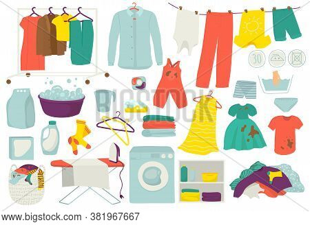 Laundry, Clean And Dirty Clothes, Washing Set Of Isolated Vector Illustrations. Clothes Washed And I