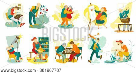 People Hobby, Creative Artistic Man And Woman Characters Doing Favorite Things, Set Of Vector Illust