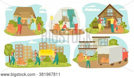 People Moving House, New Home Relocation Set Of Vector Illustrations. Family Movers With Boxes, Carr