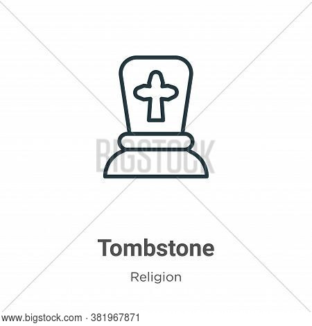 Tombstone icon isolated on white background from religion collection. Tombstone icon trendy and mode