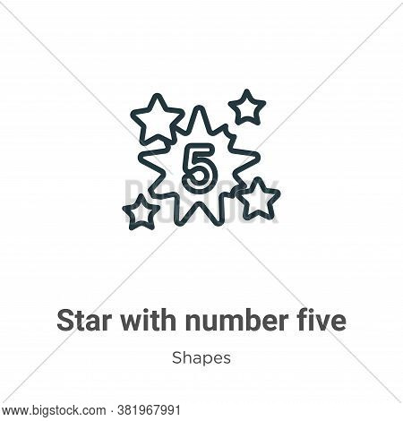 Star with number five icon isolated on white background from shapes collection. Star with number fiv