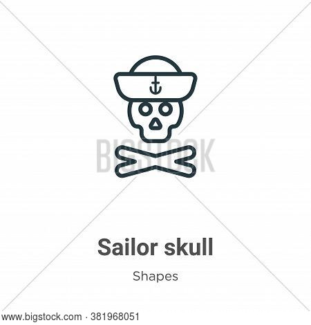Sailor skull icon isolated on white background from shapes collection. Sailor skull icon trendy and