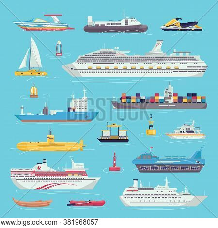 Sea Transport Set Of Water Transportation Shipping Carriages Isolated Vector Illustrations. Ship, Ya