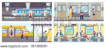 Subway Train Banners Set Of Scene Inside Underground Train Carriage With Crowd Of Sitting And Standi