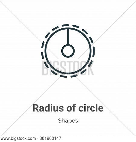 Radius Of Circle Icon From Shapes Collection Isolated On White Background.