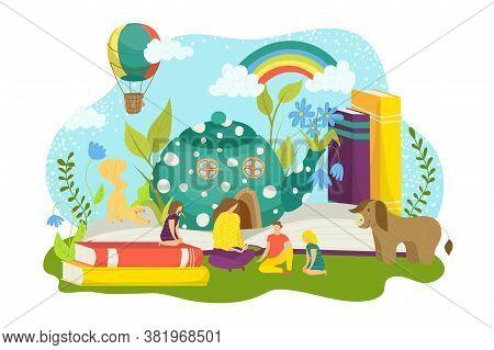 Book Imagination, Cartoon Fairy Tale Vector Illustration. Open Magic Story, Fantasy Dream Concept Fo