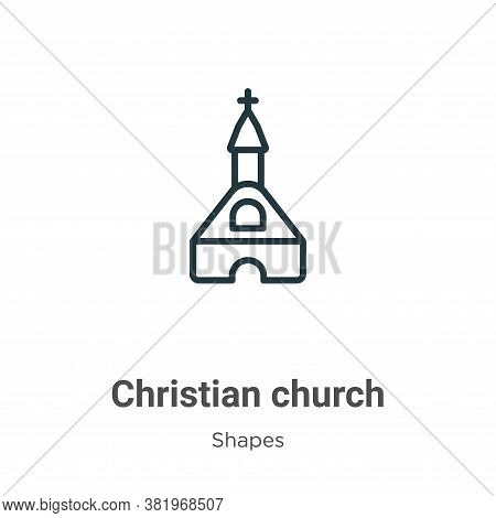 Christian church icon isolated on white background from shapes and symbols collection. Christian chu