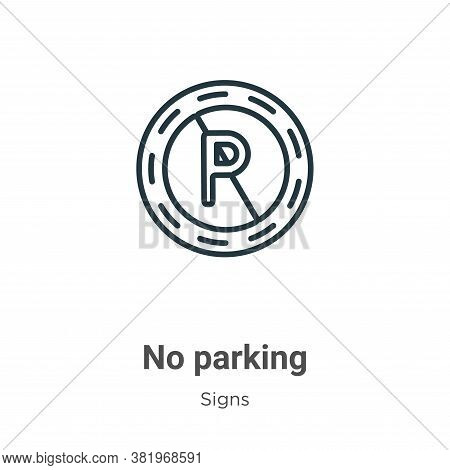 No parking icon isolated on white background from signs collection. No parking icon trendy and moder
