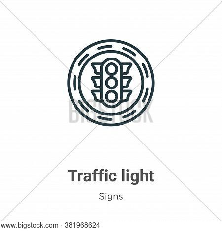 Traffic light icon isolated on white background from signs collection. Traffic light icon trendy and