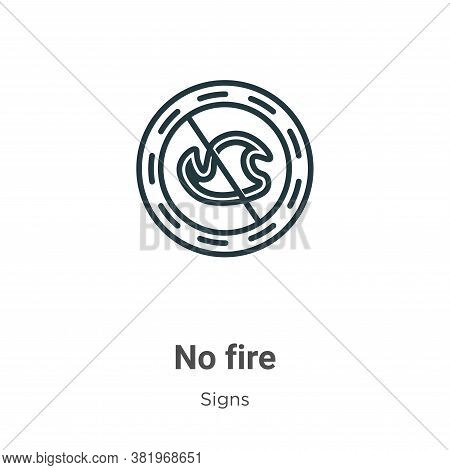 No fire icon isolated on white background from signs collection. No fire icon trendy and modern No f