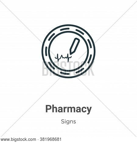 Pharmacy icon isolated on white background from signs collection. Pharmacy icon trendy and modern Ph