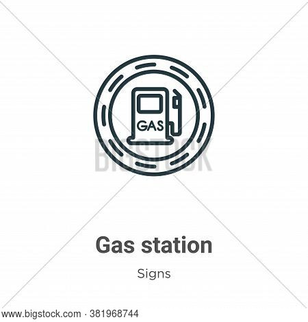Gas station icon isolated on white background from signs collection. Gas station icon trendy and mod