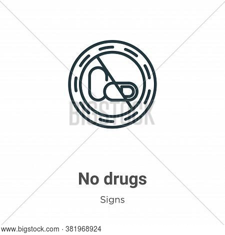 No drugs icon isolated on white background from signs collection. No drugs icon trendy and modern No