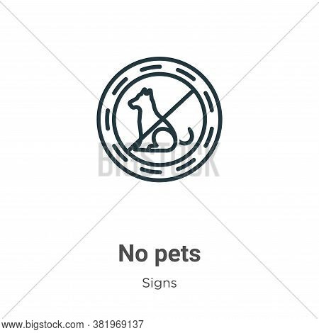 No pets icon isolated on white background from signs collection. No pets icon trendy and modern No p