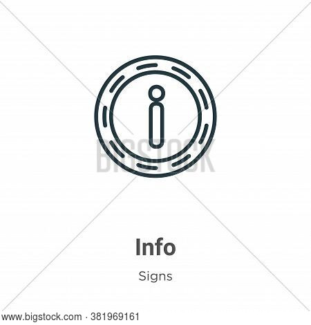 Info icon isolated on white background from signs collection. Info icon trendy and modern Info symbo